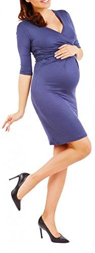 Happy Mama Femme. Robe de maternité plissé. Convient pour l'allaitement. 524p Bleu Gris