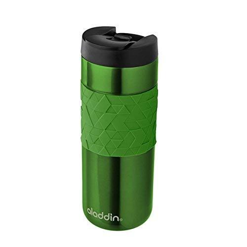 Aladdin Easy-Grip Leak-LockTM Edelstahl-Thermobecher, 0.47 Liter, Grün, 100{ca890278a39b3e7e111aa7b698be1850c8042f0ebe56c20ffcbc062e5f23debb} Auslaufsicher und Verriegelbar,  Doppelwandig Vakuumisoliert, Kaffeebecher to-go /Isolierbecher