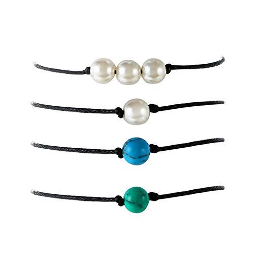 �kettchen/Armband für Frauen Mädchen, Fußschmuck, Metall Fußkette, Einfache Perle blau Grün Weiß Türkis Handgewebte Lederseil Geeignet für Strand Strand Sommerferien Reisen ()