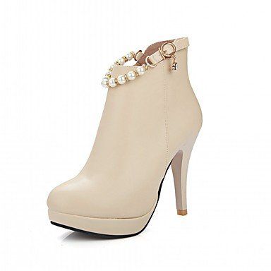 RTRY Scarpe Donna Pu Similpelle Autunno Inverno Comfort Novità Moda Stivali Stivali Stiletto Heel Round Toe Stivaletti/Stivaletti Imitazione Perla US10.5 / EU42 / UK8.5 / CN43