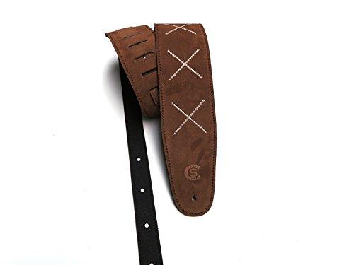 Tracolla chitarra e basso in pelle scamosciata marrone cuoio con ricamo 'X' Custom Style T8SUBRX