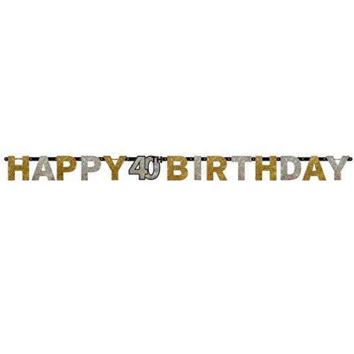 Amscan 120204 2,4 m x 16 cm, colore: oro, motivo festa 40° compleanno
