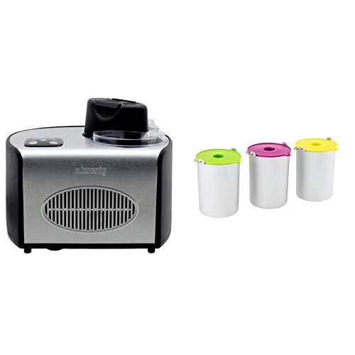 H.koenig hf250 macchina per gelati e sorbetti, gelatiera, 1.5l, programmabile, gruppo freddo integrato, pronto in 40min, 150w & bo325 set ciotole per gelateria hf180, 1.5l, 3 pezzi, acciaio inox
