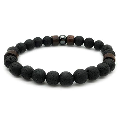 Sunsline Männer Heilung Yoga Perlen Armband 8mm Lava Stein Meditation Mala Perlen Schmuck (Vier Holzperlen, 20)