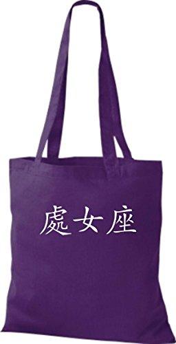 ShirtInStyle Stoffbeutel Chinesische Schriftzeichen Jungfrau Baumwolltasche Beutel, diverse Farbe purple