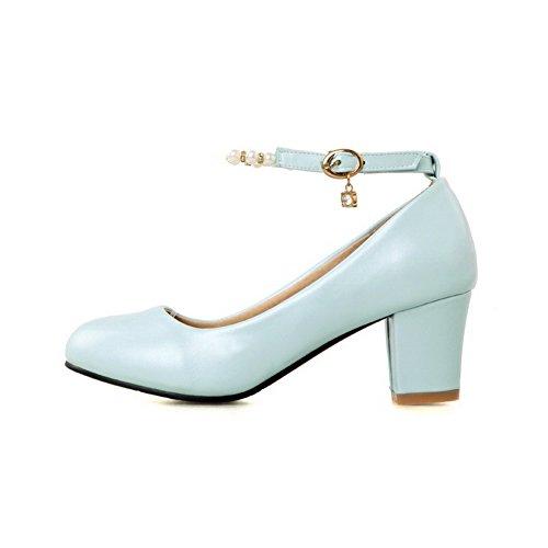 AllhqFashion Femme Pu Cuir à Talon Correct Rond Couleur Unie Boucle Chaussures Légeres Bleu