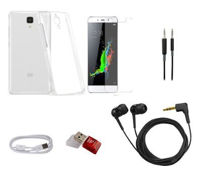 Classico Cool Pad Note 3 Trasparent Back Cover+Tempered Glass+Aux Cable+Data Cable+Card Reader+Hands Free - Accessories Combo