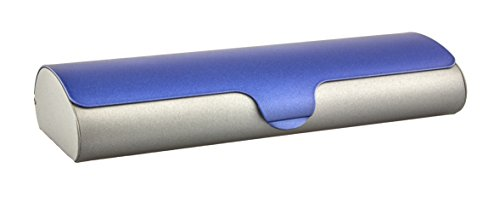 Edison & King Flaches Brillenetui mit Aluminium-Außenschale und Schnappverschluß Größen (zweifarbig Azurblau-Grau, klein)