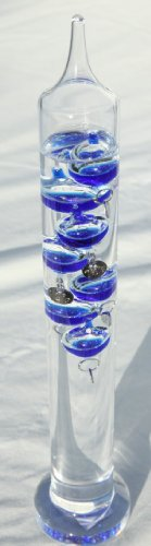 30cm tall Free standing galileo thermometer with blue coloured baubles - Liquid Galileo-thermometer