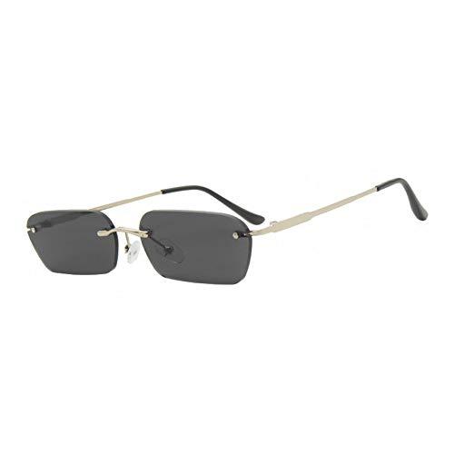 Kjwsbb Schmale Sonnenbrille Männer Randlos Sommer Rot Blau Schwarz Rechteckige Sonnenbrille Für Frauen