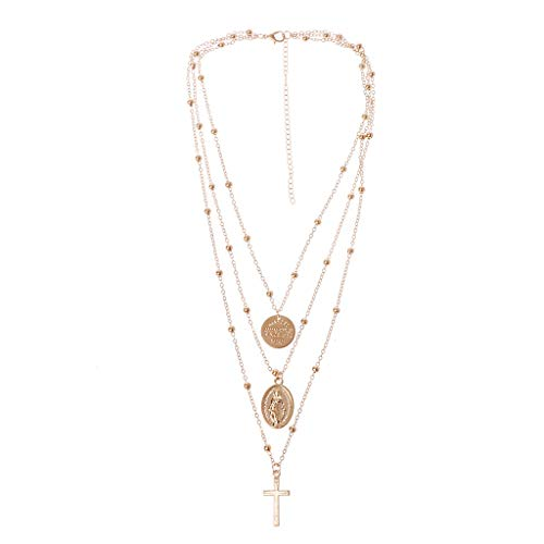 0acf9a7b120 Multilayer Cross Virgin Mary Pendant Necklace Christian Goddess Catholic  Jewelry