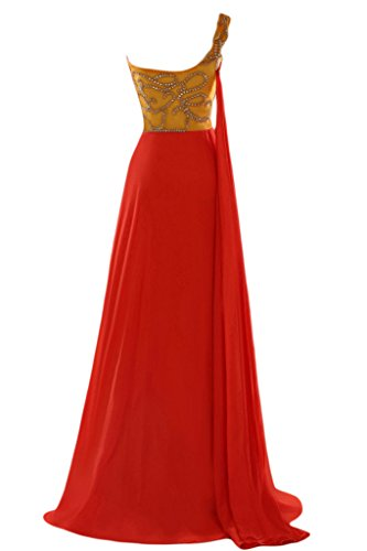 Sunvary A-line uno spalla Chiffon con perline Sbuffi Evening Dresses Homecoming Gowns Red