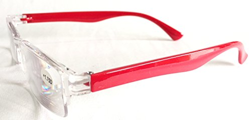 AKSHAJ™ Transparent Half Rim Reading (Near Vision) Glasses (Red, 1.75)