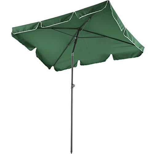 TecTake 800683 Parasol rectangulaire, de Balcon de Plage, inclinable et réglable, Protection UV 50+, 200 x 125 x 235 cm - Plusieurs Coloris - (Vert | no. 403137-2)