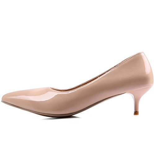 COOLCEPT Damen Simple Basic Office Pumps Slip on Kitten Heels Work schuhe Ivory