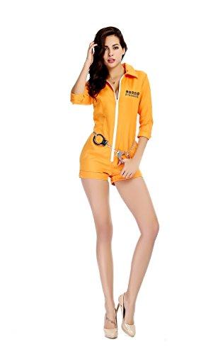 Kostüm Und Gangster Cop - gefangener Gangster Boss Kostüm für Damen orange Gefangenenkostüm Sträfling Häftling Drogen Baron