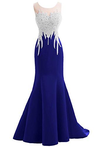 Topkleider Glamour Neu Damen Rund 2017 Traeger Meerjungfrau Chiffon Paillette Abendkleider Lang Mutterkleider Promkleider-42-Royalblau