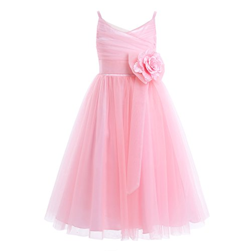 iiniim Girls Junior Tulle Mesh Flower Girl Dress Princess Pageant Wedding Bridesmaid Birthday Party Dress