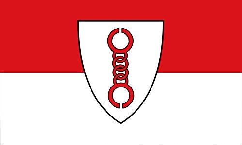 magFlags Flagge: Large Gemeinde Bönen Die Flagge ist rot und weiß in zwei Bahnen längs gestreift gemeint ist quergestreift und zeigt in der Mitte das Gemeindewappen | Querformat F