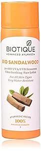 Biotique Bio Sandalwood 50+ SPF UVA/UVB Sunscreen Ultra Soothing Face Lotion, 120 ml