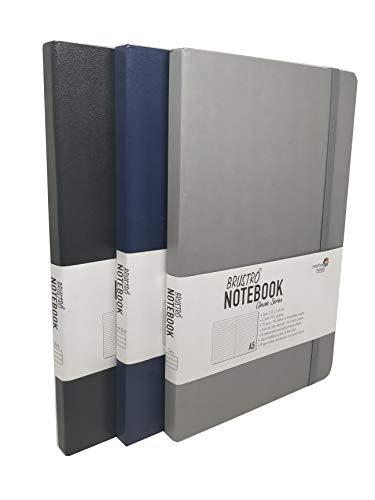 BRUSTRO Notebook Classic Series Set of 3 A5 (Black, Dark Blue, Grey)