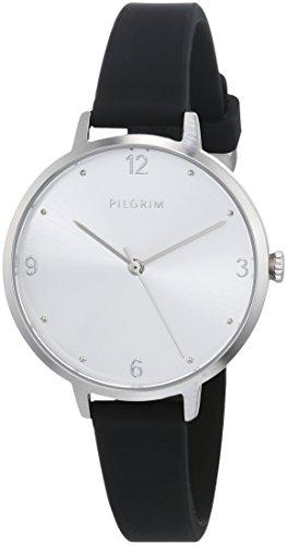 Pilgrim Damen Armbanduhr, Analog, Quartz, silber + schwarz Silikon Baia 701816117