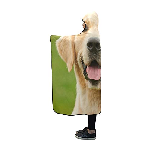 Plsdx Mit Kapuze Decke Happy Golden Retriever Blanket 60 x 50 Zoll Comfotable Hooded Throw Wrap -