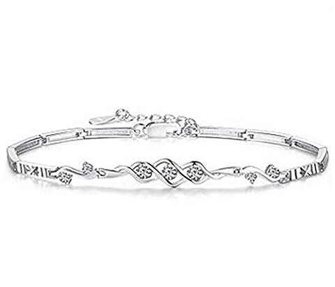 Summens Bracelet charms 925 Argent sterling et Zirconium Irrégulier Style Femmes et Filles