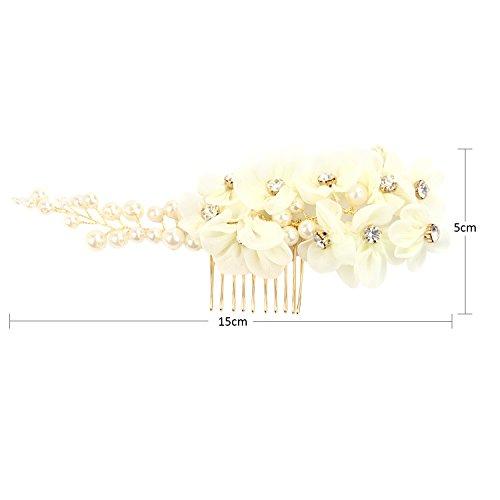 Tüll Blume Sicke Simulierte Perlen Braut Haarkämme Hochzeit Haarschmuck für Brauthochzeits Abschlussball Partei - Weiß - 4