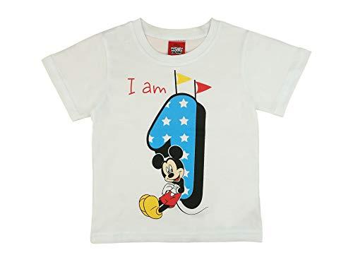 Jungen Baby Kinder 1. erster Geburtstag Kurzarm T-Shirt 1 Jahre Baumwolle Birthday Outfit GRÖSSE 86 Mickey Mouse Disney Design in Weiss oder Blau Babyshirt Oberteil Hemd Polo Farbe Weiss (1. Jungen-geburtstag Shirt)