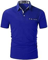 YCUEUST Heren Poloshirts Korte Mouw Geruite Kraag T-shirt Tops