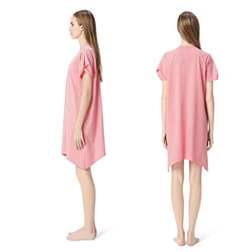 Nachtwäsche Neue Pyjamas-Frauen-Sommer-Pyjamas Kurzärmliges reizvolles mercerisiertes Baumwollv-Ansatz Rock-beiläufiges Hauptkleid-Kleid (Color : Pink, Size : XXL) -