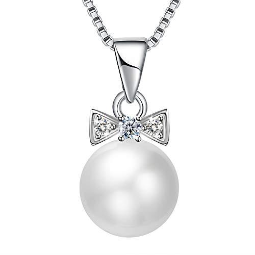 Amilril Collares Perla Mujer, Plata de Ley 925 Moda Joyería 5A Circonita Cúbica, Regalo de Día de la Madre Joyas
