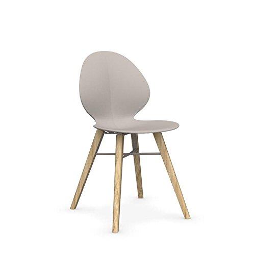 Calligaris Basilikum W Design Stuhl in Massivholz Eiche Natur/Ash-Kunststoff (PE) matt Taupe-Metall matt Taupe -