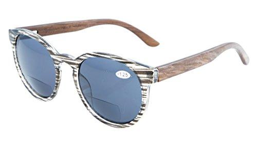 Eyekepper Qualitaet Federscharniere Holz Buegel Ovale runde bifokale Sonnenbrillen Frauen Grau Streifen +1.75