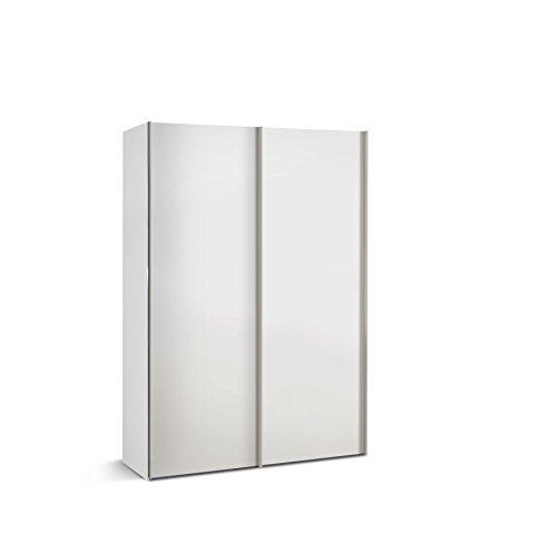 Express Möbel 34106000-070 Budget 2 2-türiger Schwebetürenschrank Holzdekor Weiß Tiefe 48 cm