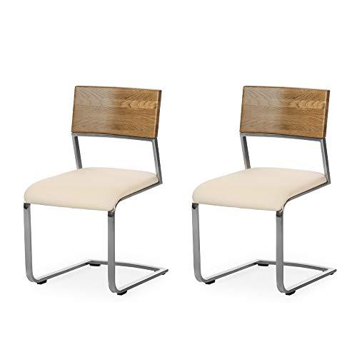 Alkove - Hayes - Moderner Massivholzstühle 2er Set mit gepolsterter Sitzfläche, Wildeiche