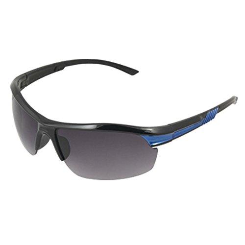 Schwarz Blau Kunststoff Arme Rauch Objektiv Sport UV Sonnenbrille Unisex (Blau Rauch Objektiv)