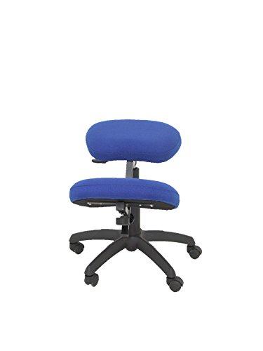 PIQUERAS Y CRESPO Modelo 37G Taburete de oficina ergonómico giratorio y regulable en altura Asiento tapizado en tejido BALI color azul (RODILLERA REGULABLE)
