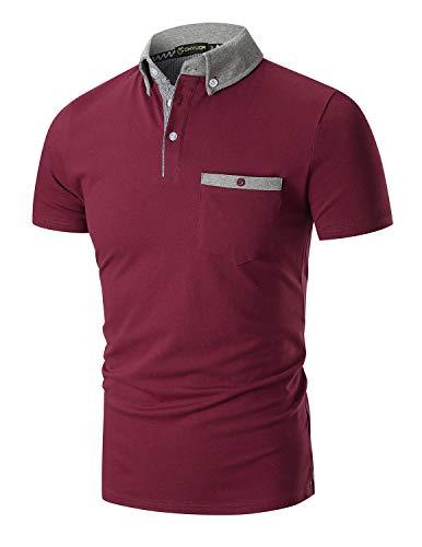 YIPIN Hombre Polo de Manga Corta Color de Contraste Golf Camisa Poloshirt Negocios Camiseta Tennis Verano T-Shirt,Rojo 1,XXL