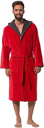 Morgenstern Bademantel für Herren aus Baumwolle mit Kapuze in Rot Bade Mantel wadenlang Herren Bademantel Baumwolle Grösse XXL