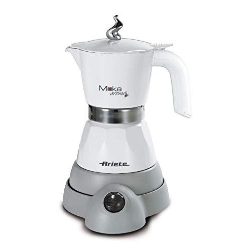 Ariete 1358 Moka Aroma - Moka elettrica 2/4 tazze, 400W, Autospegnimento, Mantenimento temperatura per 30', Bianco