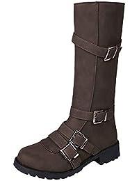 Damen Stiefel,❤️Binggong Damen Kniehohe Stiefel Schnalle Winter Römische  Motorrad Lange Stiefel Schuhe df7fcebdfd