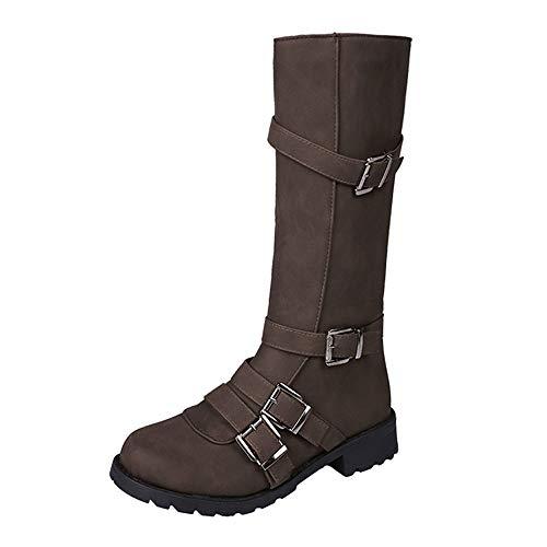 Girl Kostüm Land Army - Fascino-M』 Damenschuhe Stiefel Klassische Stiefel mit Blockabsatz Schnallen Flandell Herbst und Winter