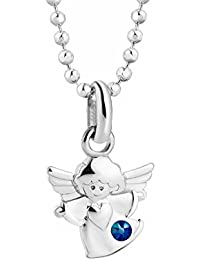 butterfly Bambine Ragazze Argento Collana Sterling 925 Swarovski Elements Originali Ciondolo Angelo Custode blu Lunghezza Regolabile Sacchetto per Gioielli Regalo Ragazza Bambina