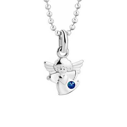 Butterfly bambine ragazze catena argento swarovski elements originali ciondolo angelo custode blu lunghezza regolabile sacchetto per gioielli regali bambini