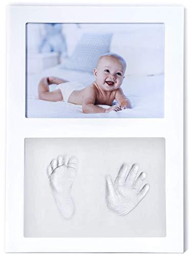 Click & clay - cornice portafoto con kit per impronte manina e piedino neonato, idea regalo battesimo, bianca