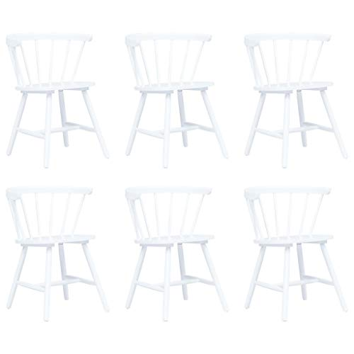 Tidyard Esszimmerstühle 6er Set Küchenstuhl Mit gebogener Rückenlehne 56 x 52,5 x 74 cm, Sitzgruppe Wohnzimmerstuhl Stühle aus Massives Gummiholz und Bugholz,Poliert, gestrichen und lackiert,Weiß -