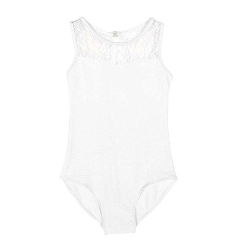 Allouli Little Girls Lace Ballet Dancing Bodysuit Pants Wide Shoulder Strap Dancewear Leotard Jumpsuit (Leotard Wide Strap)