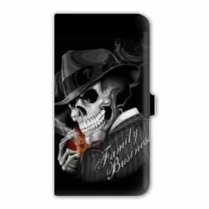 Housse cuir portefeuille Samsung Galaxy Grand / Grand Plus tete de mort - family business N